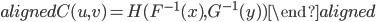 \begin{aligned} C(u,v)=H(F^{-1}(x),G^{-1}(y)) \end{aligned}