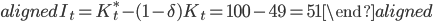 \begin{aligned} I_t=K_{t}^*-(1-\delta)K_t=100-49=51 \end{aligned}