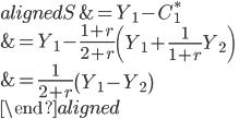 \begin{aligned} S&=Y_1-C_1^*\\ &=Y_1-\displaystyle{\frac{1+r}{2+r}}\left(Y_1+\displaystyle{\frac{1}{1+r}}Y_2\right)\\ &=\displaystyle{\frac{1}{2+r}}\left(Y_1-Y_2\right)\\ \end{aligned}
