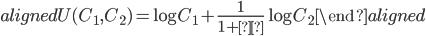 \begin{aligned} U(C_1,C_2 )=\log{C_1}+\frac{1}{1+ρ}\log{C_2} \end{aligned}