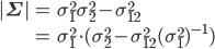 \begin{eqnarray} |\mathbf{\Sigma}| &=& \sigma_{1}^{2} \sigma_{2}^{2} - \sigma_{12}^{2} \ &=& \sigma_{1}^{2} \cdot ( \sigma_{2}^{2} - \sigma_{12}^{2}(\sigma_{1}^{2})^{-1} ) \end{eqnarray}