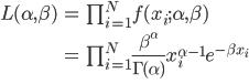 \begin{eqnarray} L(\alpha,\beta ) &=& \prod_{i=1}^{N} f(x_{i}; \alpha,\beta) \\\\ &=& \prod_{i=1}^{N} \frac{\beta^{\alpha}}{\Gamma(\alpha)} x_{i}^{\alpha-1}e^{- \beta x_{i} } \\\\ \end{eqnarray}
