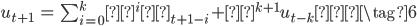 \begin{eqnarray} u_{t+1} &=& \sum_{i=0}^{k} α^i ε_{t+1-i} + α^{k+1} u_{t-k} \tag{6} \end{eqnarray}