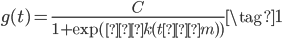 \begin{equation} \displaystyle{ g(t) = \frac{C}{1 + \exp(−k(t − m))} \tag{1} } \end{equation}
