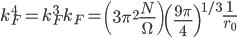 \displaystyle k_F^4 = k_F^3 k_F = \left( 3 \pi^2 \frac{ N }{ \Omega } \right) \left( \frac{ 9 \pi }{ 4 } \right)^{1/3} \frac{ 1 }{ r_0 }