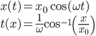 \displaystyle x(t) = x_0 \cos( \omega t ) \\ \displaystyle t( x ) = \frac{ 1 }{ \omega } \cos^{-1}\left( \frac{ x }{ x_0 } \right)