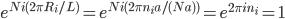 \displaystyle  e^{ N i ( 2 \pi R_i / L  ) } = e^{ N i ( 2 \pi n_i a / ( N a )  ) } = e^{ 2 \pi i n_i } = 1