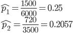 \hat{p_1}=\frac{1500}{6000}=0.25\\ \hat{p_2}=\frac{720}{3500}=0.2057