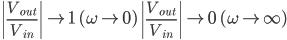 \left|\frac{V _ {out}}{V _ {in}}\right| \to 1 \quad (\omega\to 0) \ \left|\frac{V _ {out}}{V _ {in}}\right| \to 0 \quad (\omega\to\infty)