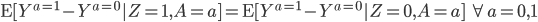 \mathrm{E}[Y^{a=1} - Y^{a=0}|Z=1, A=a] = \mathrm{E}[Y^{a=1} - Y^{a=0}|Z=0, A=a]\quad \forall a =0,1