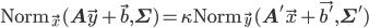 \mathrm{Norm}_{\vec{x}}(\mathbf{A}\vec{y} + \vec{b}, \mathbf{\Sigma}) = \kappa \mathrm{Norm}_{\vec{y}}(\mathbf{A}' \vec{x} + \vec{b'}, \mathbf{\Sigma}')