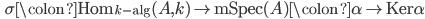 \qquad \displaystyle \sigma \colon \mathrm{Hom}_{k-\mathrm{alg}} (A, k) \to \mathrm{mSpec} (A) \colon \alpha \to \mathrm{Ker} \alpha