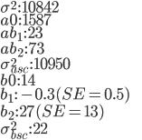 \sigma^{2}\,:\,10842\\ a0\,:\,1587\\ ab_{1}\,:\,23\\ ab_{2}\,:\, 73\\ \sigma_{asc}^{2}\,:\,10950\\ b0\,:\, 14\\ b_{1}\,:\,-0.3(SE=0.5)\\ b_{2}\,:\,27(SE=13)\\ \sigma_{bsc}^{2}\,:\, 22