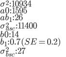 \sigma^{2}\,:\,10934\\ a0\,:\,1595\\ ab_{1}\,:\, 26\\ \sigma_{asc}^{2}\,:\, 11400\\ b0\,:\, 14\\ b_{1}\,:\,0.7(SE=0.2)\\ \sigma_{bsc}^{2}\,:\,27