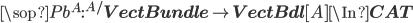 \sop{Pb}^A : {^{A/}{\bf VectBundle}} \to {\bf VectBdl}[A] \In {\bf CAT}