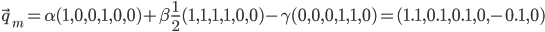 \vec{q}_{m} = \alpha(1,0,0,1,0,0) + \beta\frac{1}{2}(1,1,1,1,0,0) - \gamma(0, 0, 0, 1, 1, 0) = (1.1, 0.1, 0.1, 0, -0.1, 0)