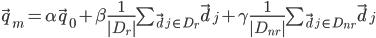 \vec{q}_{m} = \alpha\vec{q}_{0} + \beta\frac{1}{|D_{r}|}\sum_{\vec{d}_{j} \in D_{r}}\vec{d}_{j} + \gamma\frac{1}{|D_{nr}|}\sum_{\vec{d}_{j} \in D_{nr}}\vec{d}_{j}