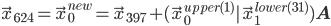 \vec{x}_{624} = \vec{x}_{0}^{new} = \vec{x}_{397} + (\vec{x}_{0}^{upper(1)} | \vec{x}_{1}^{lower(31)})\mathbf{A} \\