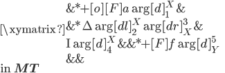 \xymatrix {   {} & *+[o][F]{a}\ar[d]_1^X & {}  \\   {}  & *{\Delta}\ar[dl]_2^X \ar[dr]_X^3 & {}  \\   {\mathrm{I}} \ar[d]_4^X  & {} & *+[F]{f} \ar[d]_Y^5 \\   {}   &  {} & {} }\\ \mbox{in }{\bf MT}