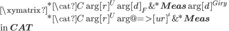 \xymatrix {  *{\cat{C}} \ar[r]^{U}\ar[d]_{F}  & *{\bf Meas} \ar[d]^{Giry}\\  *{\cat{C}} \ar[r]^{U} \ar@{=>}[ur]^{\iota}&  *{\bf Meas} }\\ \mbox{in }{\bf CAT}