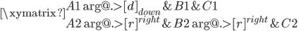 \xymatrix { A1 \ar@{.>}[d]_{down} & B1 & C1 \\ A2 \ar@{.>}[r]^{right}& B2 \ar@{.>}[r]^{right} & C2 }