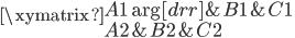 \xymatrix { A1 \ar[drr] & B1 & C1 \\ A2          & B2 & C2 }
