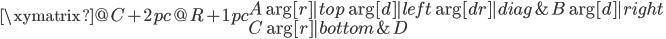 \xymatrix@C+2pc@R+1pc{ A \ar[r]|{top} \ar[d]|{left} \ar[dr]|{diag} & B \ar[d]|{right} \ C \ar[r]|{bottom}  & D }