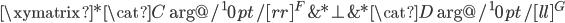 \xymatrix{  *{\cat{C}}  \ar@/^10pt/[rr]^{F}  & *{\bot}  & *{\cat{D}} \ar@/^10pt/[ll]^{G} \\ }