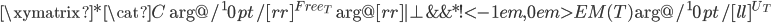 \xymatrix{  *{\cat{C}} \ar@/^10pt/[rr]^{Free_{T}} \ar@{}[rr]|{\bot}  & {}    &*!<-1em,0em>{EM(T)} \ar@/^10pt/[ll]^{U_T} }