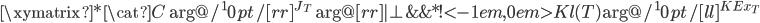 \xymatrix{  *{\cat{C}} \ar@/^10pt/[rr]^{J_{T}} \ar@{}[rr]|{\bot}  & {}    &*!<-1em,0em>{Kl(T)} \ar@/^10pt/[ll]^{KEx_T} }