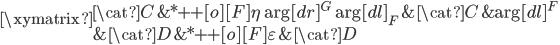 \xymatrix{  {\cat{C}}  & *++[o][F]{\eta} \ar[dr]^{G} \ar[dl]_{F}  & {\cat{C}}   & {} \ar[dl]^{F} \\  {}   & {\cat{D}}        & *++[o][F]{\varepsilon}   & {\cat{D}} }