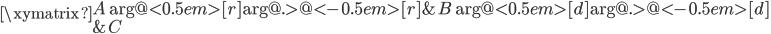 \xymatrix{  A \ar@<0.5em>[r] \ar@{.>}@<-0.5em>[r] & B \ar@<0.5em>[d] \ar@{.>}@<-0.5em>[d] \\  & C }