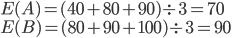E(A) = (40 + 80 + 90) \div 3 = 70 \\ E(B) = (80 + 90 + 100) \div 3 = 90