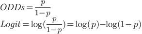 ODDs = \frac{p}{1-p}\\ Logit = \log(\frac{p}{1-p})=\log(p) - \log(1 - p)