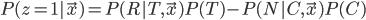 P(z=1|\vec{x}) = P(R|T, \vec{x})P(T) - P(N|C, \vec{x})P(C)
