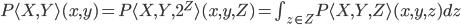 P\langle X, Y\rangle(x, y)  = P\langle X, Y, 2^Z\rangle (x, y, Z) = \int_{z \in Z} P\langle X, Y, Z\rangle (x, y, z) dz