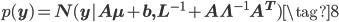 p(\mathbf y) = N(\mathbf y | \mathbf A \mathbf \mu + \mathbf b , \mathbf{L}^{-1} + \mathbf A \mathbf \Lambda^{-1} \mathbf A^{T}) \tag{8}