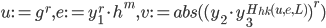 u:=g ^ r,e:=y ^ r _ 1 \cdot h ^ m, v:=abs((y _ 2 \cdot y _ 3 ^ {H _ {hk}(u,e,L)}) ^ r)