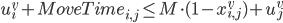 u^v_i + MoveTime_{i, j} \leq  M \cdot (1 - x^v_{i, j}) + u^v_j