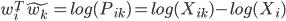 w_{i}^{T}\tilde{w_{k}}=log(P_{ik})=log(X_{ik})-log(X_{i})