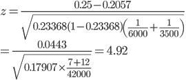 z=\frac{0.25-0.2057}{\sqrt{0.23368(1-0.23368)\left(\frac{1}{6000}+\frac{1}{3500}\right)}}\\ =\frac{0.0443}{\sqrt{0.17907\times\frac{7+12}{42000}}}=4.92