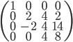\begin{pmatrix}       1 & 0 & 0 & 0 \\       0 & 2 & 4 & 2 \\      0 & -2 & 4 & 14\\      0 & 0 & 4 & 8 \end{pmatrix}