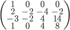 \begin{pmatrix}       1 & 0 & 0 & 0 \\       2 & -2 & -4 & -2 \\      -3 & -2 & 4 & 14\\      1 & 0 & 4 & 8 \end{pmatrix}