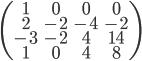 \begin{pmatrix}       1 & 0 & 0 & 0 \\       2 & -2 & -4 & -2 \\      -3 & -2 & 4 & 14\\      1 & 0 & 4 & 8 \end{pmatrix}