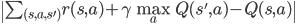 \  \sum_{(s,a,s')}  r(s, a) + \gamma \max_{a} Q(s', a) - Q(s, a) \ 