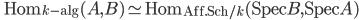 \qquad \mathrm{Hom}_{k- \mathrm{alg} } (A, B) \simeq \mathrm{Hom}_{\mathrm{Aff.Sch/} k } (\mathrm{Spec} B, \mathrm{Spec} A)