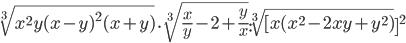\sqrt[3]{x^{2}y(x-y) ^{2}(x+y)} \cdot \sqrt[3]{\frac{x}{y}-2+\frac{y}{x}} : \sqrt[3]{[x(x ^{2}-2x y+y ^{2})} ]^{2}