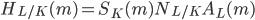 H_{L/K}(\mathfrak{m}) = S_K(\mathfrak{m}) N_{L/K} A_L(\mathfrak{m})