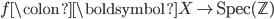f\colon \boldsymbol{X} \to \text{Spec}(\mathbb{Z})