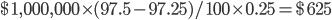 $1,000,000 \times (97.5-97.25)/100 \times 0.25 = $625